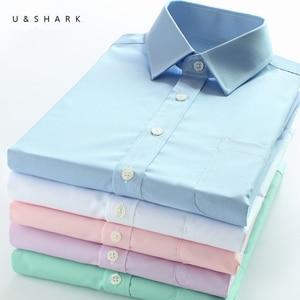 Image 1 - U & כריש Mens בסיסי שמלת חולצה רשמית עסקים אריג בד טיפול קל ארוך שרוול לבן חולצות חולצות חברתיות עבודה במשרד ללבוש