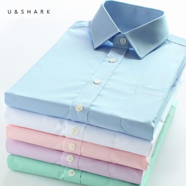U & כריש Mens בסיסי שמלת חולצה רשמית עסקים אריג בד טיפול קל ארוך שרוול לבן חולצות חולצות חברתיות עבודה במשרד ללבוש