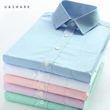 U & SHARK męska prosta sukienka koszula formalna biznesowa tkanina ze splotem skośnym łatwy w pielęgnacji z długim rękawem białe topy koszule dla społecznej praca biuro Wear