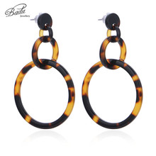 Badu Leopard Acetic Acid Earring Exaggerated Geometric Round Dangle Earrings for Women Wild Fashion Jewelry Wholesale