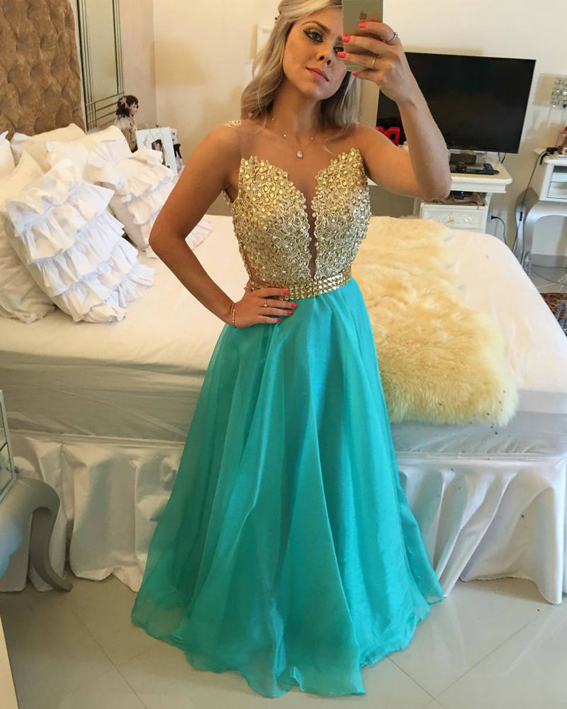 Turquoise and Gold Prom Dress | Dress images