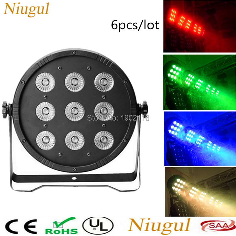 6pcs/lot LED Par 9x12W RGBW 4IN1 Stage Lighting DJ Par LED RGBW Wash Disco Light DMX Controller DMX512 LED Lights for party show