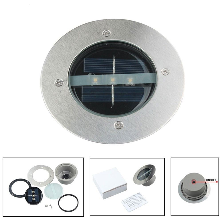Outdoor Solar Underground Lamp 3pcs Birght LED Solar LED Landscape Garden Lawn Light Stainless Steel Material
