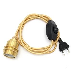 Image 2 - Europa podłączyć przewód zasilający przełącznik ściemniacza z E27 w stylu Vintage mosiądz gniazdo lampy uchwyt Retro wiszące oprawy oświetleniowe