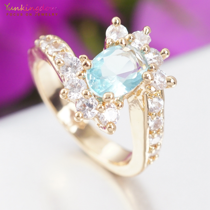 Yunkingdom Gold Color Crystal Flower Wedding Rings For Women Jewelry Wholesale Engagement Ring Accessories K2079
