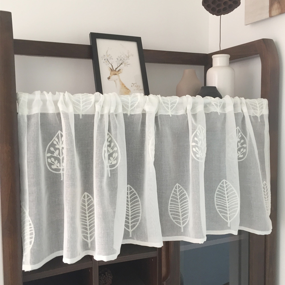 White Half Curtain Leaf Towel Embroidery Coffee Lace Yarn Pure Short Curtain For Bar Kitchen Cabinet Door Children's Room