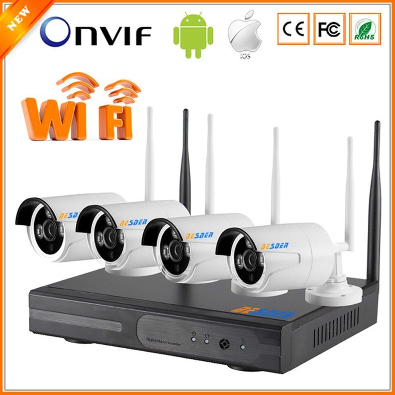リアルp2pプラグ&プレイ4チャンネルipカメラwifiワイヤレスキットシステムcctv 4ch 1080 p nvr wifi + 4ピース720 p ipカメラワイヤレス  グループ上の セキュリティ & プロテクション からの 監視システム の中 1