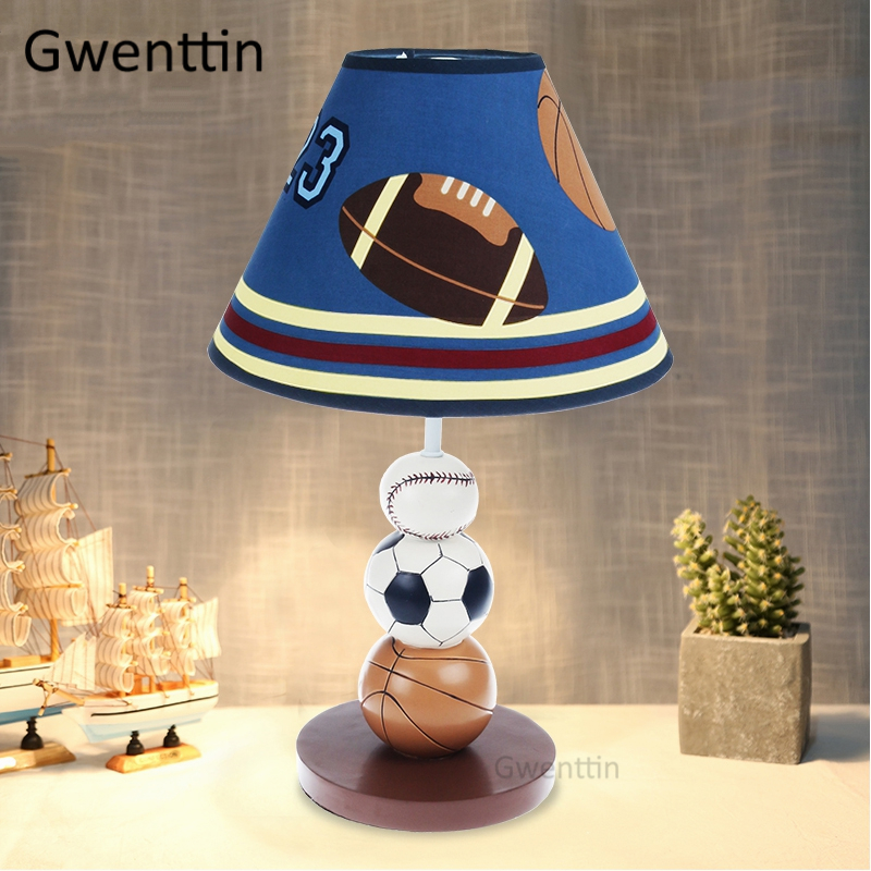 Cartoon Basketball Football Table Lamps for Children s Room Kids Bedroom Bedside Lamp Led Stand Desk