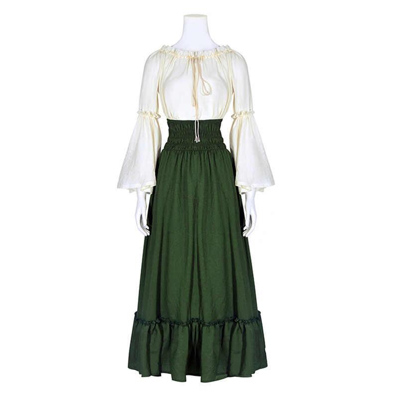 85af6ad4abc0 Women Medieval Renaissance Gothic Victorian Irish Fair Pirate Peasant  Bodice Dress Chemise Halloween Cosplay Costume