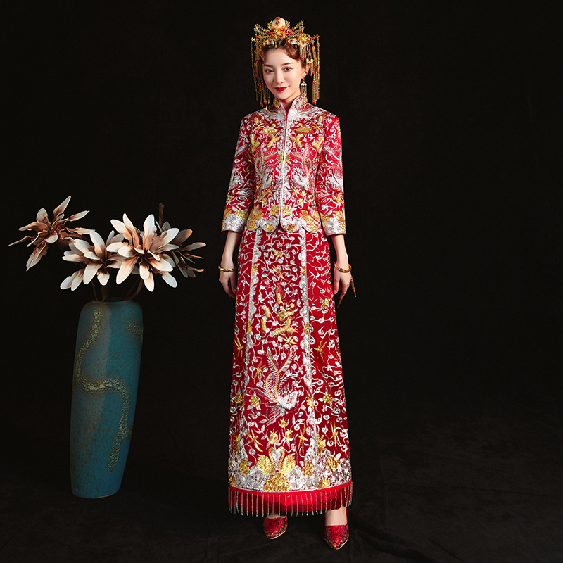 Royal Women Marriage Suit Chinese Traditional Embroidery Dragon&Phoenix Cheongsam Elegant Slim Long Qipao Bride Wedding Dress