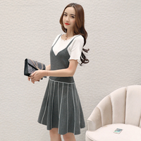 2017 New Spring Summer Fashion Women Dress Short Sleeve Knitting Sweater Vest Outfit Dresses Army Green