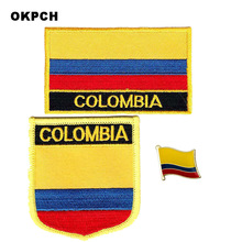 Colombia National Flag Embroidered Iron On Patches For Clothing Metal  Badges DIY Saw On Patches(