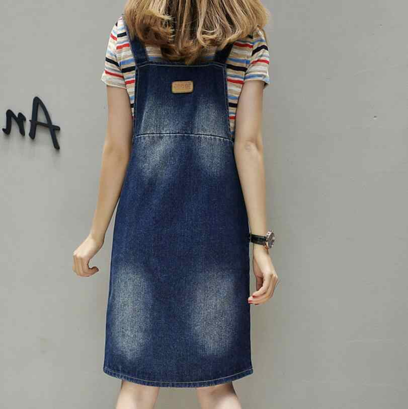 ... 2018 Summer Women Plus size 5XL fat MM Denim Dress Denim Sundress  Casual Loose Overalls Female 8bd1a6b0e880