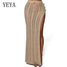 YEYA Summer Boho Beach Sexy High Split Skirts Fashion Hollow Out Handmade Elegant Crochet Knitted Women Casual Sundress