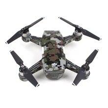 De carbono Gráfico Pegatinas de Calcomanías De Camuflaje Chispa Drone Drone Batería Cuerpo Piel Impermeable de PVC para DJI(China)