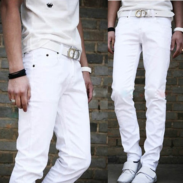 2017 2015 Fashion Mens Casual Trousers White Jeans Slim Fit Jeans ...