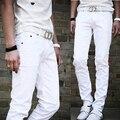 2017 Nueva llegada de moda blanco pantalones Rectos hombres de la Moda casual de negocios pantalones masculinos cuatro estaciones pantalones delgados de alta calidad