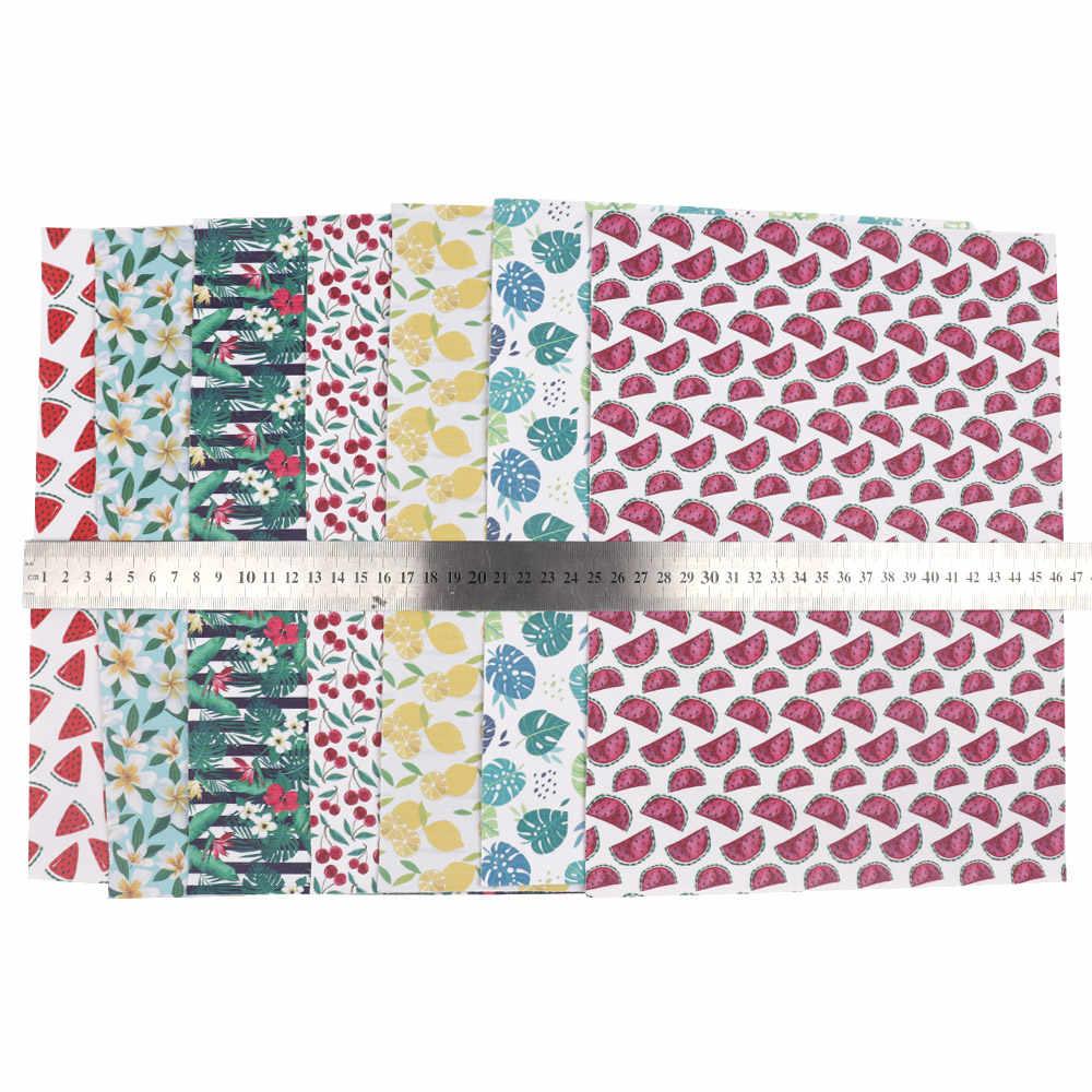 Jojo arcos de couro sintético, 1 peça de tecido falso com estampa de flores, folhas de frutas, para costura e diy decoração de casa material de arcos de cabelo
