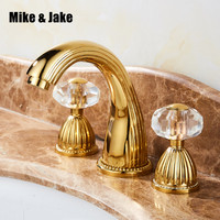 Luxury gold three hole basin faucet cold and hot detachable gold crystal crane bathroom faucet bathroom three pecs gold tap