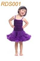 El Más Nuevo diseño de moda vestido vestido de fiesta de cumpleaños vestido de petti petti rosette vestido para las niñas Pom Pom Mono KP-RDS001