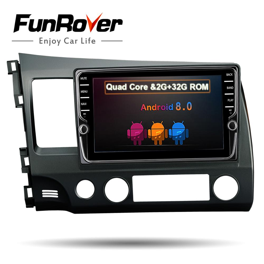 FUNROVER android 8.0 2 din car dvd for honda civic 2006-2011 navigation gps car radio video stereo multimedia player 2G RAM 32G все цены