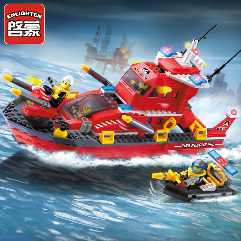 Enlighten 906 Water Spray Fire Boat 339pcs Building Blocks Compatible all brand City Fire Series Boat brick toys for children jie star fire ladder truck 3 kinds deformations city fire series building block toys for children diy assembled block toy 22024