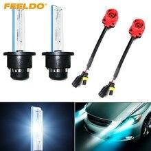 FEELDO 1Set Car Auto 35W D2S Xenon HID Bulbs 4300K 12000K 2pcs Adapters Replacement Bulbs