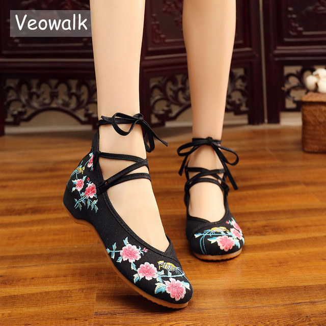 4612209fc19e Veowalk Ankle Strap Women Canvas Flower Embroidery Ballet Flats Mid Top  Ladies Casual Ballerina Shoes Woman Comfort Dance shoes