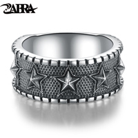 Skills Old Silversmith 925 Silver Star Ring Width Character Men To Restore Ancient Ways Punk Star