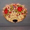 16 дюймов телесный кантри цветы Тиффани подвесной светильник Витражная Лампа для спальни E27 110-240 В