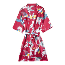 Herislim Women's Robe Silk Satin Floral Print Short Kimono Wedding Bride Bridesmaid Dressing Gown Half Sleeve Sleepwear Bathrobe ethnic floral print half sleeve short kimono fo women