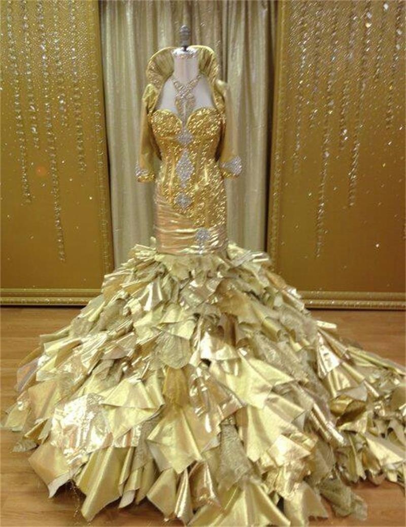 2015 Luxurious Gold Long Mermaid Evening Dress With Jacket Halter Crystals Sequin Floor Length Robe De Soiree Abendkleider On Aliexpress Alibaba Group: Gold Gypsy Wedding Dresses At Reisefeber.org