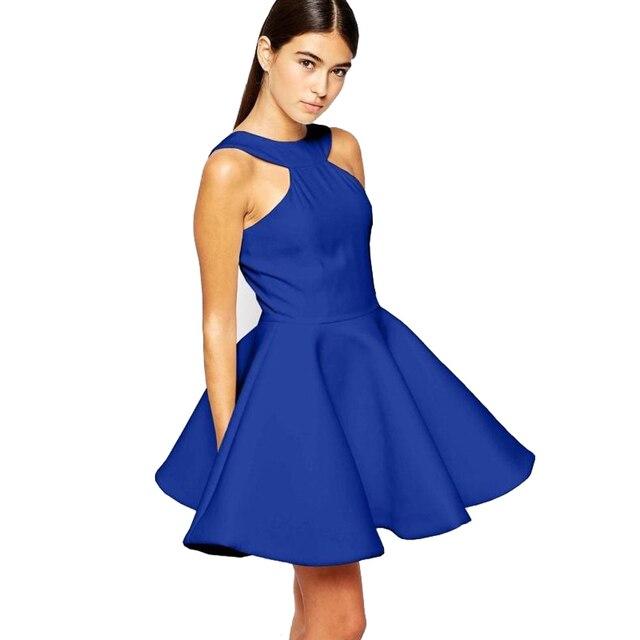 ecc6e50780 2018 Kobiet Elegancki Szczupła Niebieskie Sukienki Letnie Czarne Suknie  Uczeń Elegancka Krótka Sukienka Mini Sexy Sukienki