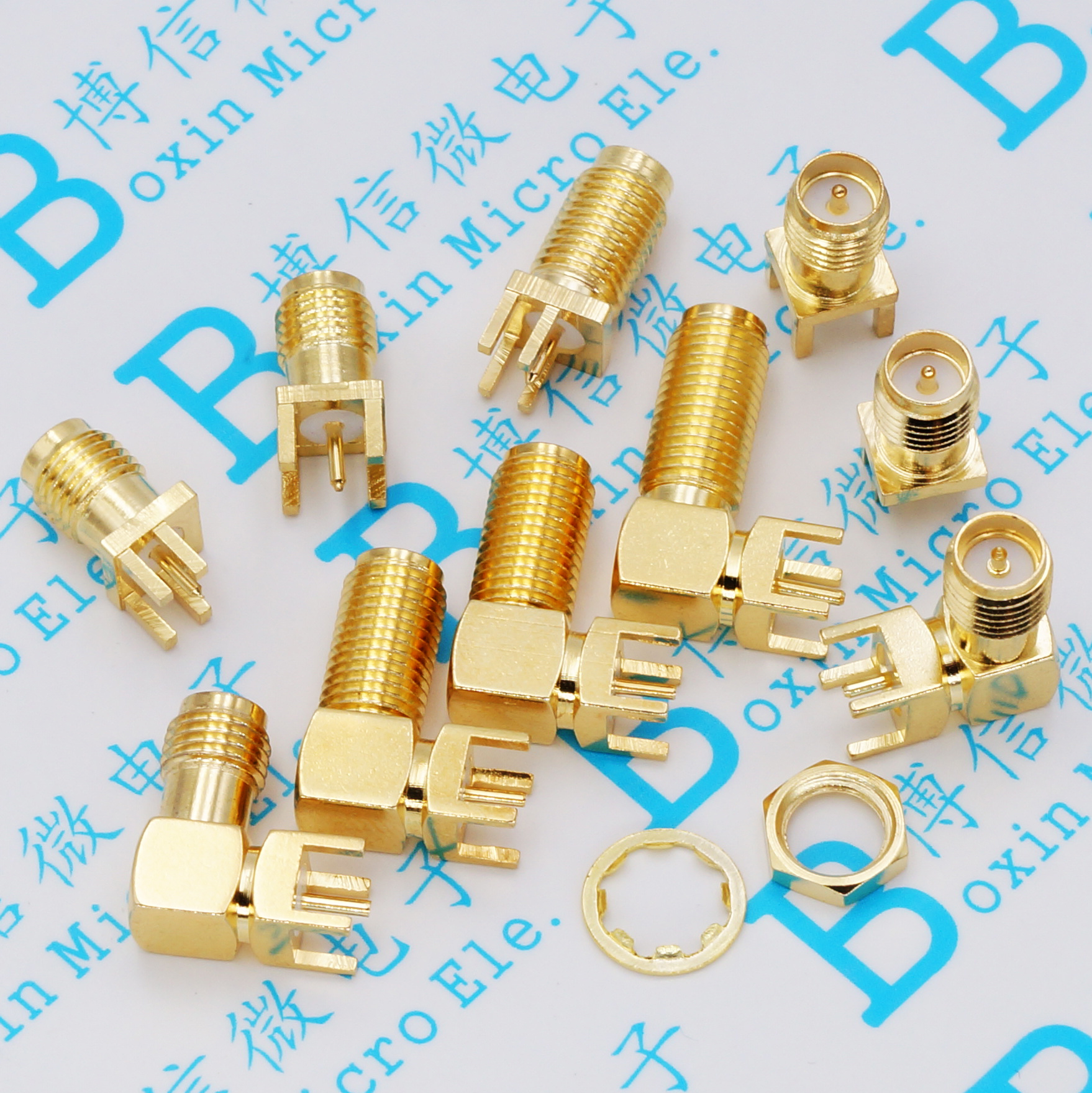 5Pcs SMA Female Jack Solder Nut Edge PCB Clip Straight Mount Gold Plated RF Connector Receptacle Solder SMA-KE/KWE/KHD/IPEX
