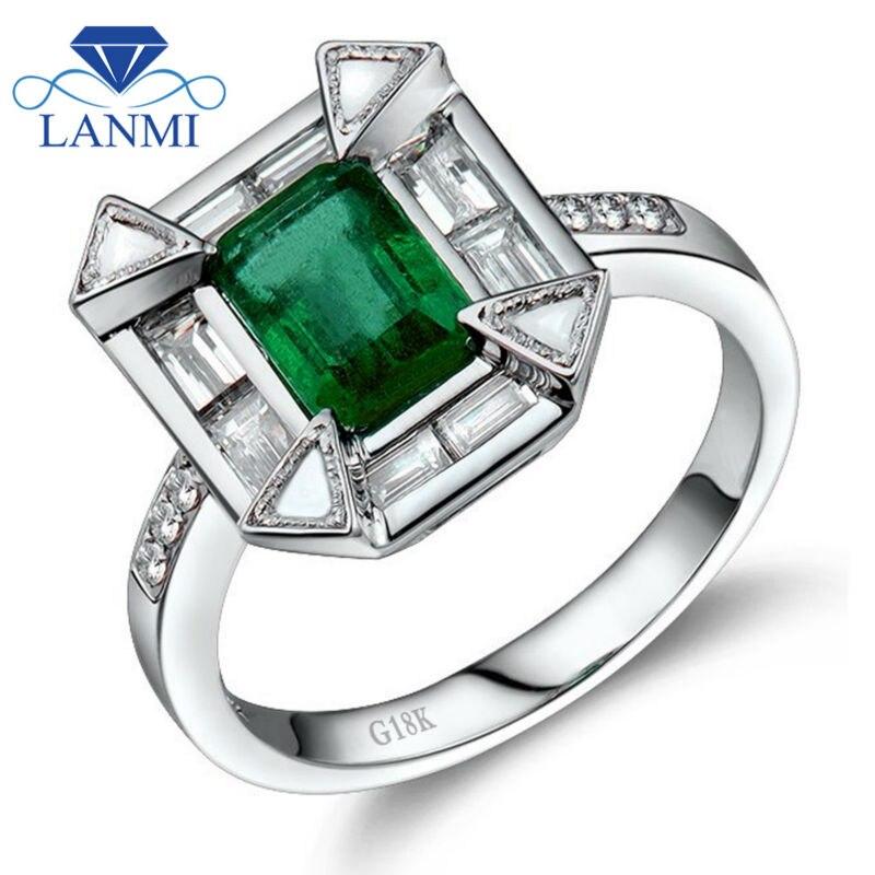 Vintage Emerald Cut 5x7mm 18kt White Gold Natural Emerald Diamond Engagement Ring , Baguette Diamond Emerald Ring <