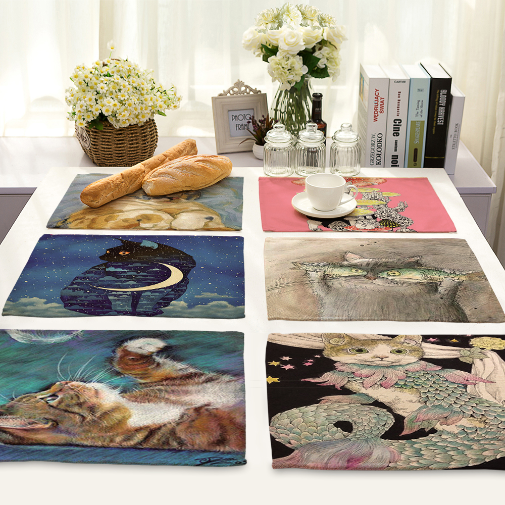 Kitchen Art 32cm: Cute Cartoon Cat Pattern Table Mat Animal Table Napkin