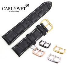 CARLYWET 18 20 22mm Black Real Leather Handmade White Stitches Replacement Watch Band Strap For Longines Armani CITIZEN Omega