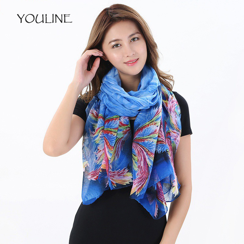 YOULINE Fashion Women Scarf Flower Print Long Length Bufandas Mujer 2018 Female Pashmina Shawls Cotton Scarves 1 PC S17187