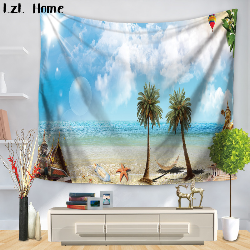 LzL Home Tropical Island Palm Tree Blue Sky Tapestry Clean Sea Ocean Scenery Tapestry Wall Hanging For Bedroom Livingroom Dorm