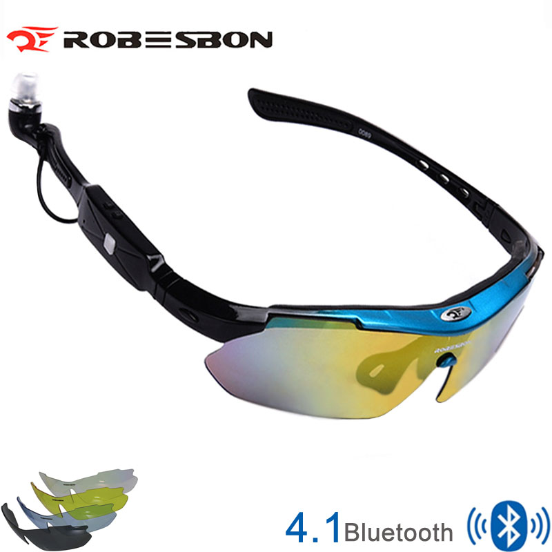 New Brand 5 Lens 4.1 Smart Bluetooth Sunglasses Polarized Cycling Glasses Men Motorcycling MP3 Phone Eyewear Goggles(only black) aluminum magnesium sunglasses polarized sports men coating mirror driving sun glasses oculos male eyewear accessories