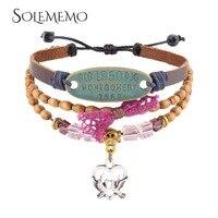 SOLEMEMO 3 Layers Beads Heart Charm Bracelet For Women Bileklik Fashion BOHO Handmade Jewelry B0707