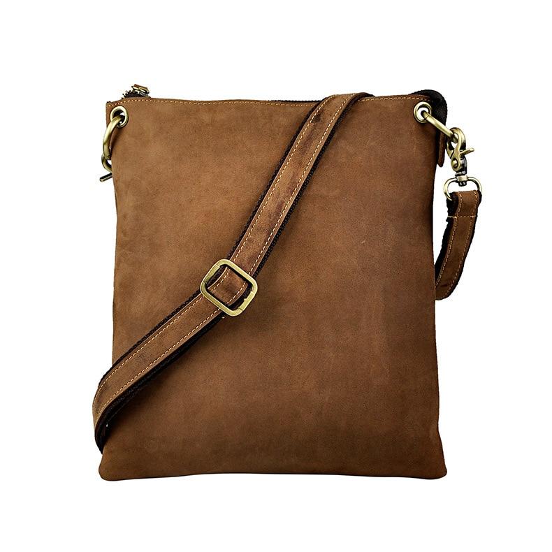 Real Leather Male messenger bag Satchel cowhide Casual 8 Pad Cross body Shoulder bag For Men