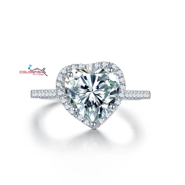 Timeless Heart Shaped Halo Engagement Ring S925 Bright Cut 2 5 Ct