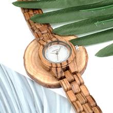 BOBO BIRD Women Watches All Zebra Wood Case Rhinestone Dial Ladies Dress Watch with Quartz in Wooden Box