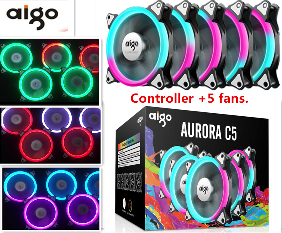 Aigo fan octave space C5 computer desktop fan iridescence RGB 12 cm aurora aperture water multimodal cooling fan octave uzanne canaletto