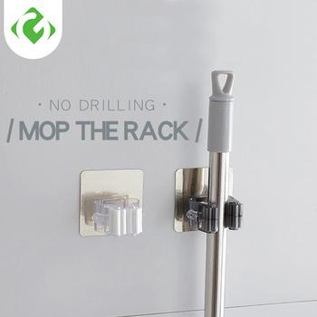 Ścienny Mop organizer Rack samoprzylepna szczotka wieszak na miotły hak kuchnia łazienka mopy półeczki na drobiazgi drop 1pc Strong tanie i dobre opinie