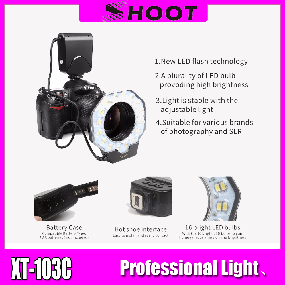 Ring Flash Light LED Video Light Camera Ring Flash Photographic Lighting With LCD Display For Photo Studio DSLR For Nikon Canon