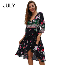 Summer new fashion Dress V-neck Vintage Elegant Flower Printed Party Women Sexy Beach  Bohemian Free shipping