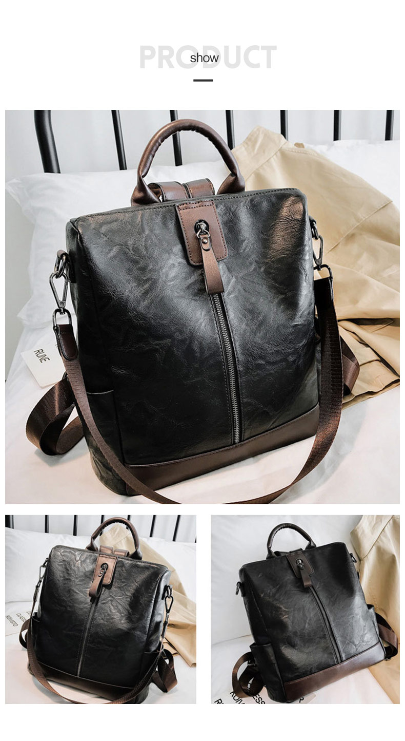 HTB14qQlbjDuK1Rjy1zjq6zraFXaZ Fashion Women High Quality Leather Backpack Multifunction Leatherett Backpack For Female Big Bookbag Travel Bag Sac A Dos XA279H