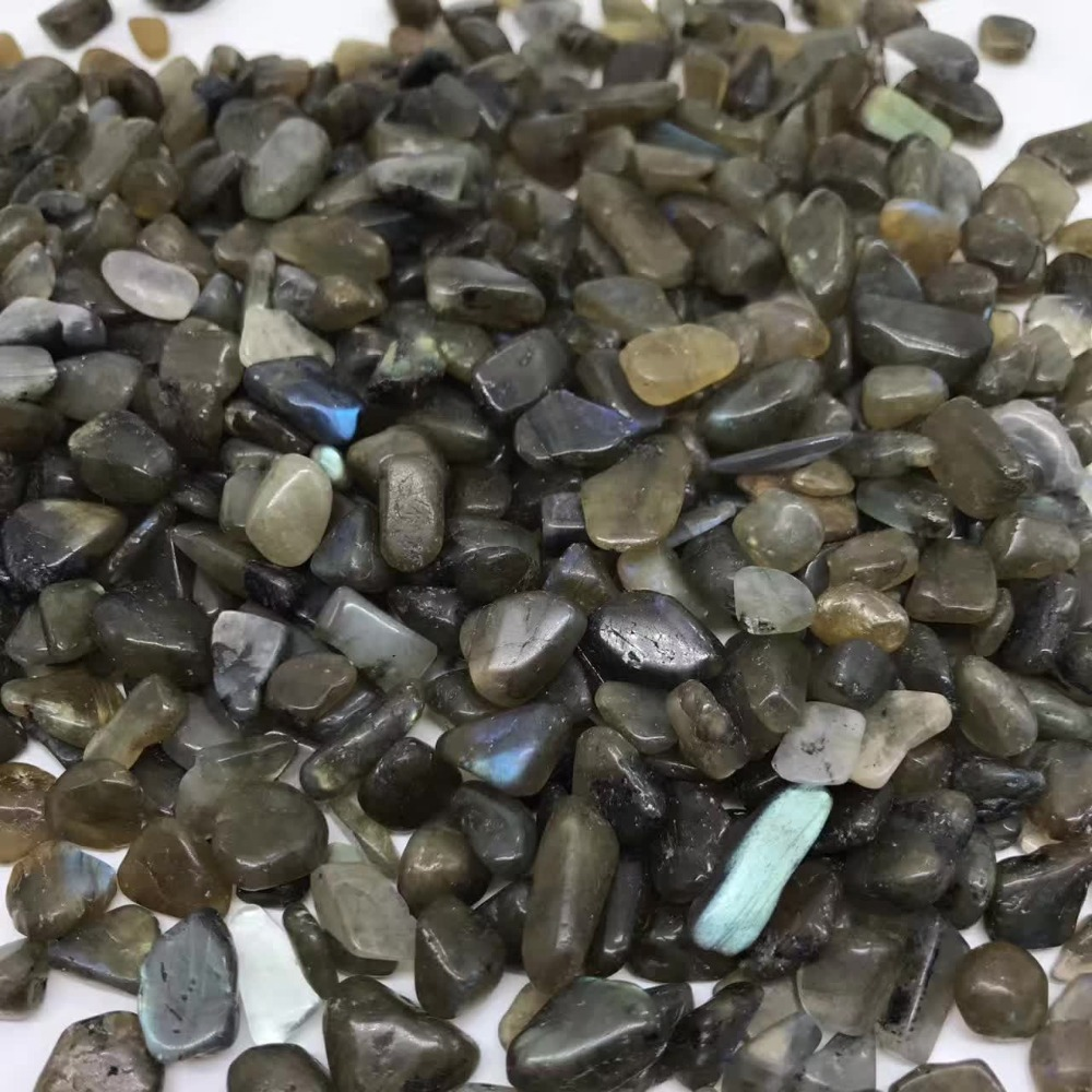 Natural Labradorite Moon Stone Gravel Rock Mineral Specimen Planting Aquarium Fish Tank Decor Stone Healing Reiki Stone Crafts